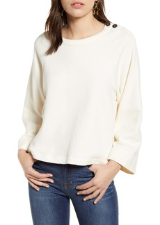 Madewell Shoulder Button Elbow Patch Top
