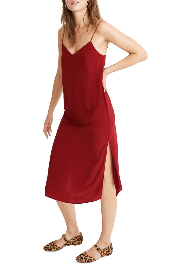 Madewell Side Slit Silk Slipdress