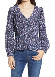 Madewell Silk Button Front Peplum Top