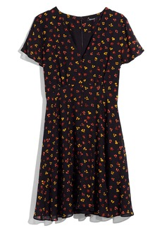 Madewell Silk Button Front Swing Dress in Feline Floral