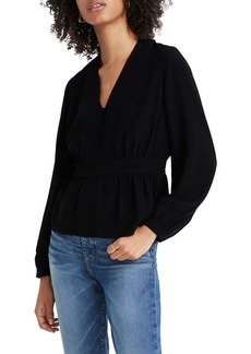 Madewell Silk V-Neck Peplum Top