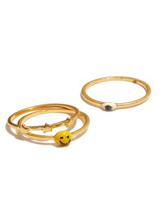Madewell Smiley Face Ring Set