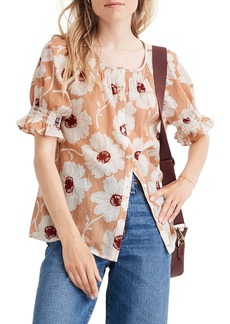 Madewell Smocked Button-Down Top in Big Time Blooms
