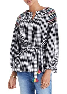 Madewell Smocked Gingham Top