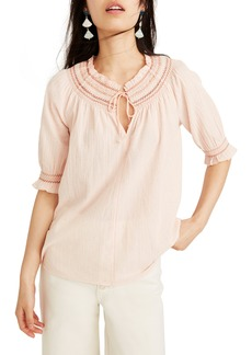 Madewell Smocked Peasant Top