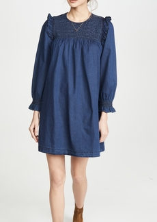 Madewell Indigo Ruffle Neck Smocked Babydoll Dress