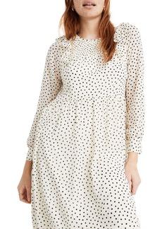Madewell Smocked Ruffle Shoulder Midi Dress