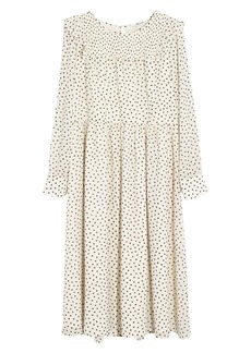 Madewell Smocked Ruffle Shoulder Midi Dress