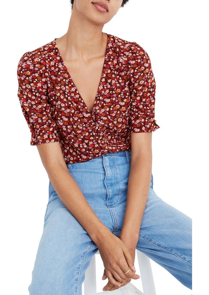 Madewell Spring Prairie Button Sleeve Silk Top