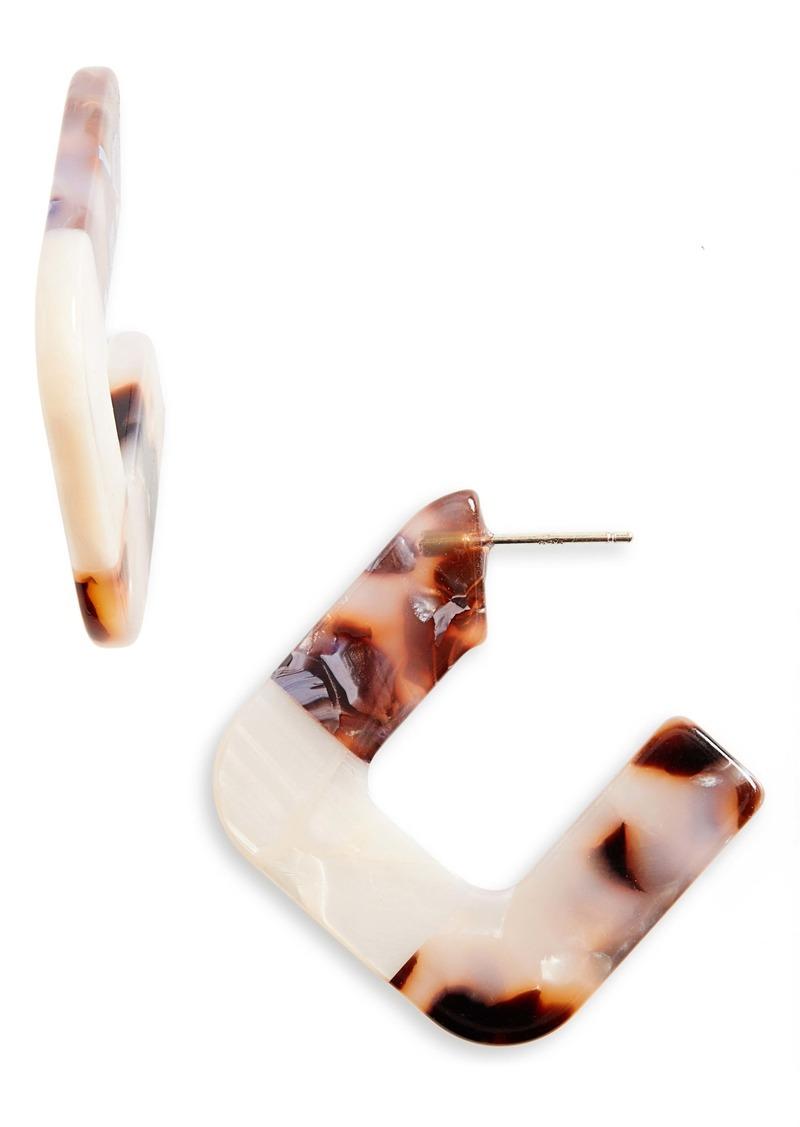 Madewell Square Colorblock Resin Hoop Earrings