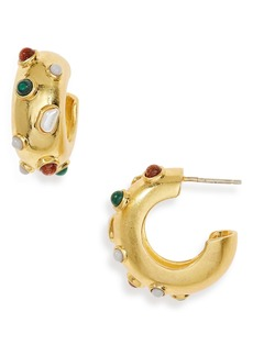 Madewell Stone Inlaid Chunky Small Hoop Earrings