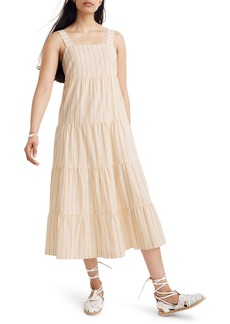 Madewell Stripe Button Back Tiered Midi Dress