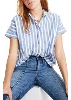 Madewell Stripe Crop Button-Up Shirt