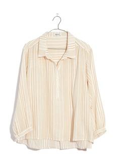 Madewell Stripe Gauze Drop Shoulder Popover Top