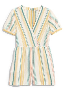 Madewell Stripe Linen Button Wrap Romper