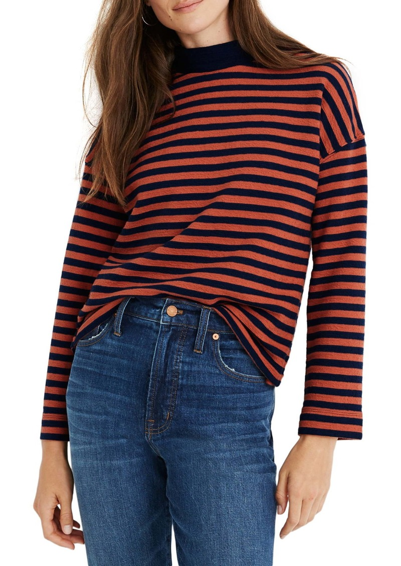Madewell Stripe Mock Neck Boxy Top