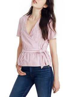 Madewell Stripe Ruffle Hem Wrap Top