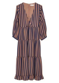 Madewell Stripe Satin Midi Dress