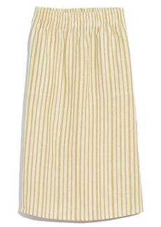 Madewell Stripe Smocked Waist Midi Skirt