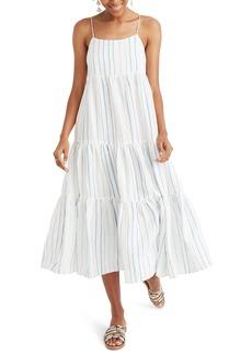 Madewell Stripe Tiered Linen Midi Dress