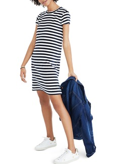 Madewell Stripe Velour T-Shirt Dress