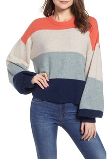 Madewell Striped Balloon-Sleeve Pullover Sweater