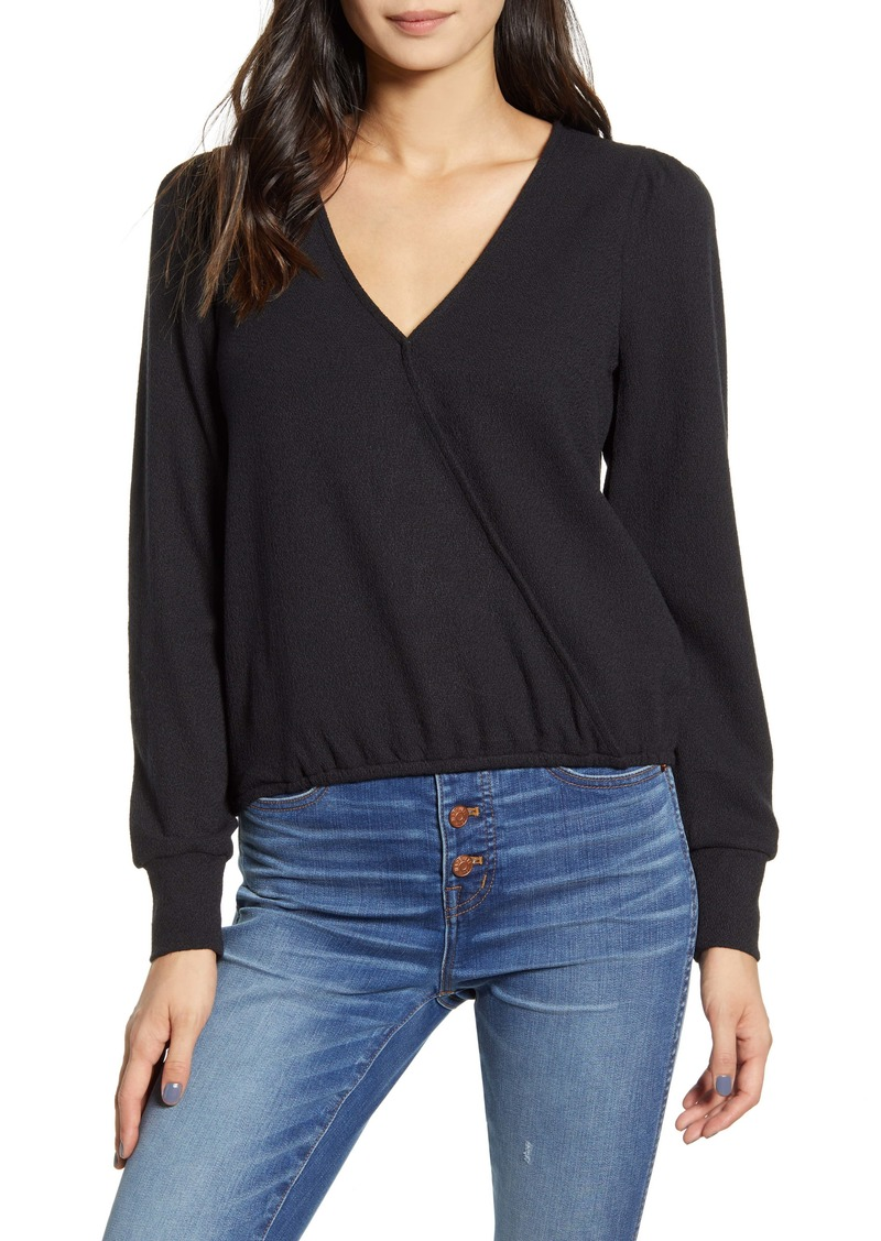 Madewell Texture & Thread Puff Sleeve Faux Wrap Top