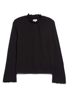 Madewell Texture & Thread Ruffled Mock Neck Top