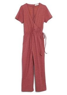 Madewell Texture & Thread Short Sleeve Wrap Jumpsuit