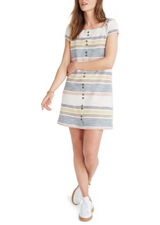 Madewell Texture & Thread Stripe Cap Sleeve Dress