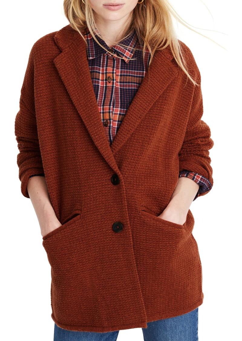 Madewell Textured Wool Blend Blazer Sweater Jacket