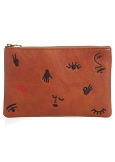Madewell The Leather Pouch Clutch: Embroidered Icon Edition