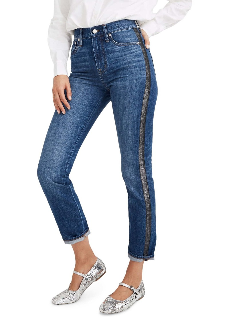 Madewell The Perfect Vintage Jean: Metallic Tuxedo Stripe Edition (Wellbeck Wash)