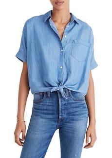 Madewell Tie Front Short Sleeve Denim Shirt