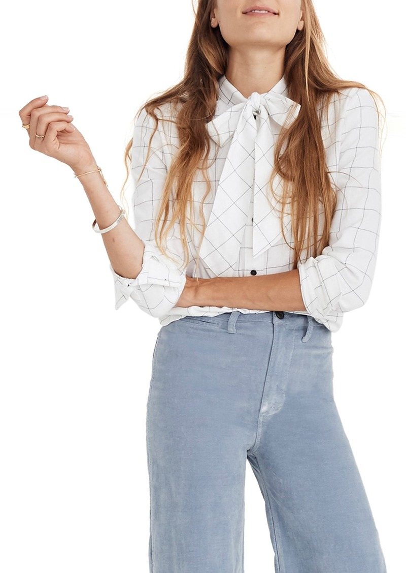 cae0f3efd90 On Sale today! Madewell Madewell Tie Neck Flannel Blouse