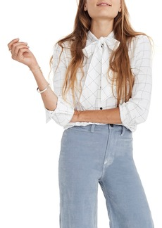 Madewell Tie Neck Flannel Blouse