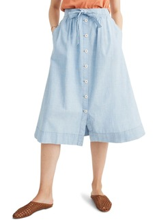 Madewell Tie Palisade Button Front Chambray Midi Skirt