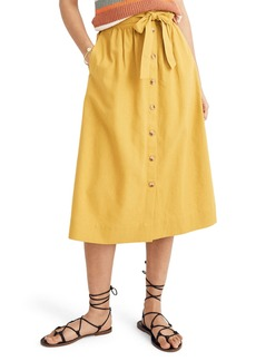 Madewell Tie Palisade Button Front Midi Skirt
