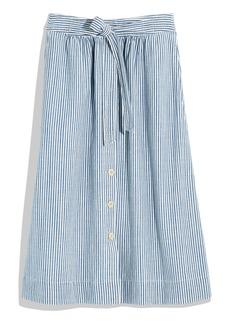 Madewell Tie Palisade Pilar Stripe Button Front Midi Skirt