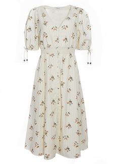 Madewell Tie Sleeve Smocked Waist Button Front Midi Dress