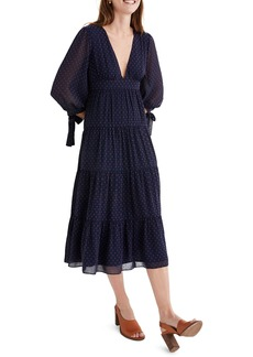Madewell Tie Sleeve Tiered Midi Dress