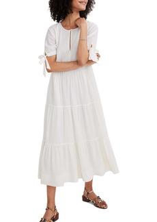 Madewell Tie Sleeve Tiered Swiss Dot Midi Dress