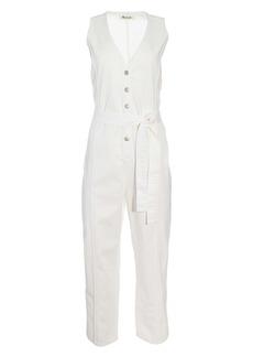 Madewell Tie Waist Sleeveless Denim Jumpsuit