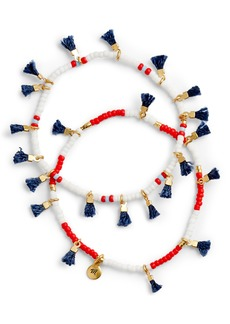 Madewell Two-Pack Red, White & Blue Beaded Tassel Bracelets