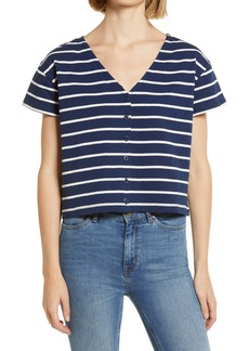 Madewell V-Neck Button Front Boxy Crop Top
