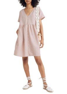 Madewell V-Neck Button Front Linen Blend Minidress