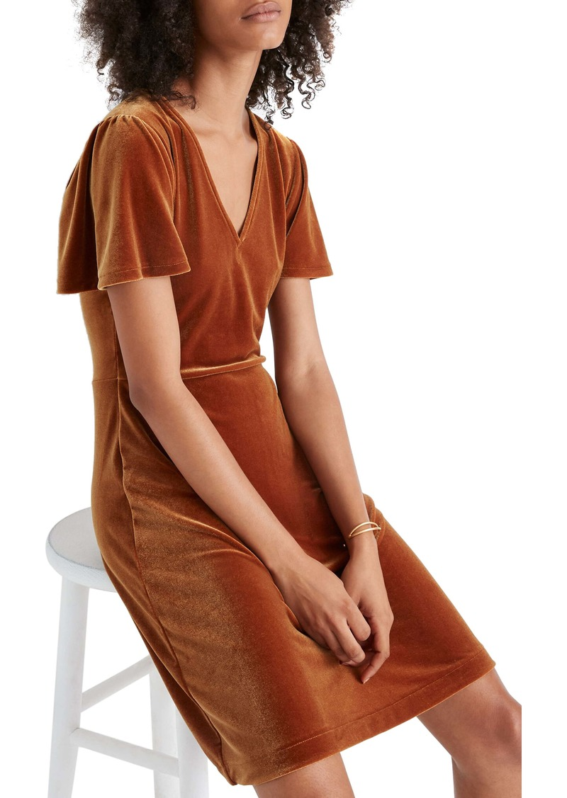 Madewell V-Neck Flutter Sleeve Velvet Dress