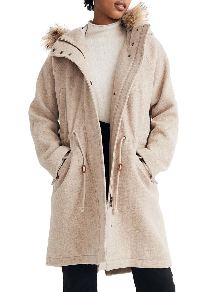 Madewell Vancouver Wool Blend Parka with Faux Fur Trim