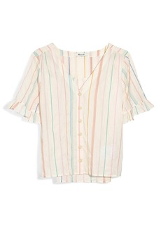 Madewell Village Stripe Ruffle Sleeve Shirt
