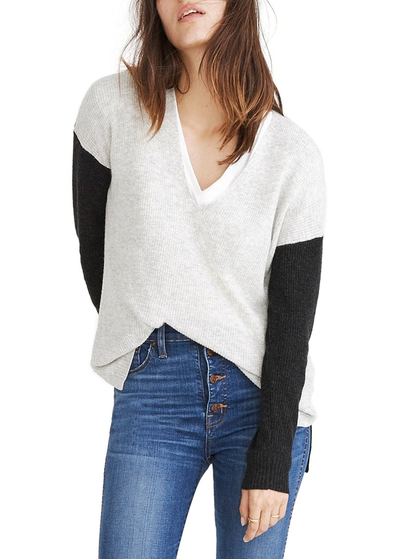 43cfb24775d Madewell Madewell Warmlight Colorblock V-Neck Sweater